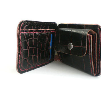 Leather wallet, Wallet & card case, leather billfold, credit card cover, Leather purse, Leather Coin Wallet, alligator print, hand stitched