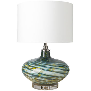 Lauderdale Turquoise Glass Table Lamp
