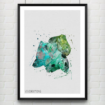 Bulbasaur Pokemon Watercolor Poster, Kids Watercolor Art Print, Boy's Room Wall Art, Kids Decor, Not Framed, Buy 2 Get 1 Free! [No. 4-1]