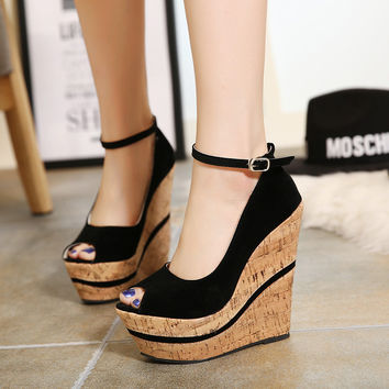 Black Velvet Open Toe Wedges On Sale