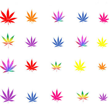 Colorful Weed Leafs / Pot Leafs / Marijuana Leafs Nail Decals / Nail Art / Nail Design