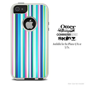 The Thin Colored Striped Skin For The iPhone 4-4s or 5-5s Otterbox Commuter Case