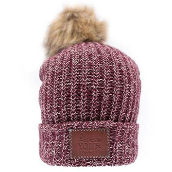 Burgundy and Natural Speckled Pom Beanie (Natural Pom) - Love Your Melon
