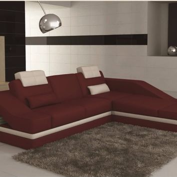 Luxury Modern Contemporary Designed Two Tone Italian and Bonded Leather Sectional Sofa (White/Red)