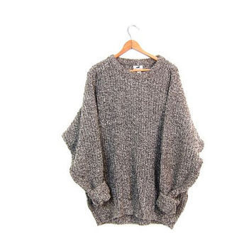 80s Chunky Wool Knit Sweater Brown Marled Boyfriend Pullover Winona Knits Swaeter Basic 80s Thick Loose Knit Jumper Mens XL
