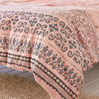 Olga Border Yarn Dyed Duvet Cover - Urban Outfitters