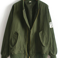 Army Green Stand Collar Pockets Loose Jacket | MakeMeChic.COM