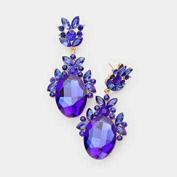 Crystal Oval Cluster Accented Evening Earrings