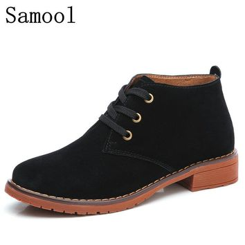 2018 Winter Spring Oxford Shoes Women Shoes Woman Cow Suede Martin Ankle Female Casual Shoes Flats Lace-Up Zapatos Mujer WX5