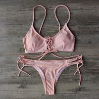 Pink Bandage Bikini Set Swimsuit Beach Bathing Suits