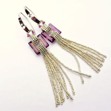 Geometric Gemstones: Swarovski Crystal Purple Square Fringe Earrings - Sterling Silver Handmade Beaded Art Deco Earrings