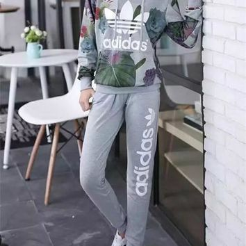 """Adidas"" Women Casual Letter Lotus Leaf Print Long Sleeve Hooded Sweater Set Two-Piece"