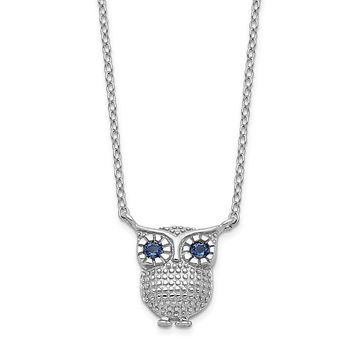 Sterling Silver Blue Created Sapphire Owl Necklace