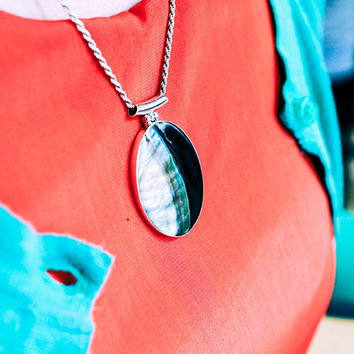 Oval Contrast Mother of Pearl Seashell Sterling Silver Pendant