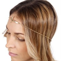 Gold Cross Chain Headband