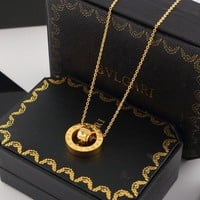 8DESS Bvlgari Diamonds Women Fashion Plated Chain Necklace