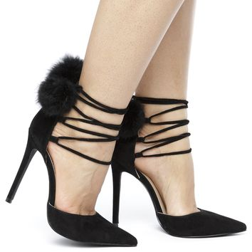 POM POM PARTY SUEDE PUMP - BLACK
