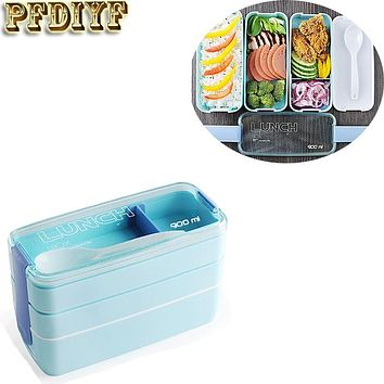 PFDIYF 3 Colors Portable 900ml 3 Layers Microwave Lunch Bento Box Candy Color Food Storage Containers Lunchbox Eco-Friendly