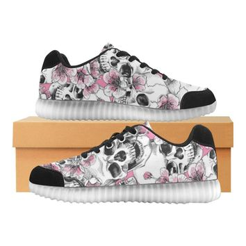 Skull & Flowers Design 1 Light Up Casual Women's Shoes