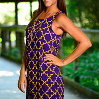 Carry Me Away Dress, Purple/Gold