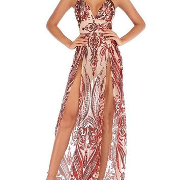 0515bd39541 Indie XO  89.99. New Red Patchwork Grenadine Sequin Double Slit Backless  Spaghetti Strap V-neck Elegant Maxi Dress