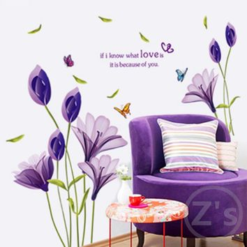 Lily wall sticker Modern home decor Plant adhesive flower decal for wall mural removable vinyl