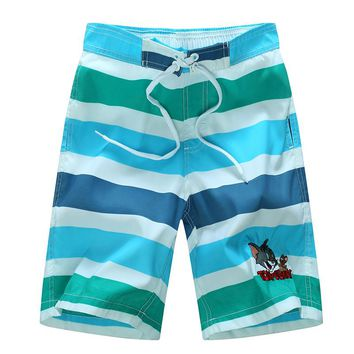 Boy's Quick Dry Swim Trunks Colorful Stripe Beach Shorts 1528