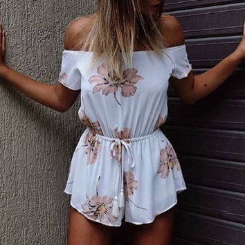 Loose Off Shoulder Floral Print Romper