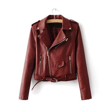 Women Trendy And Colorful Faux Leather Jacket