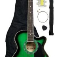 Barcelona Thinline Cutaway Folk Acoustic-Electric Guitar with Accessories - Green