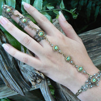 green peridot slave bracelet triple ring hand flower hand chain slave ring bohemian elfin elf victorian moon goddess pagan boho gypsy style