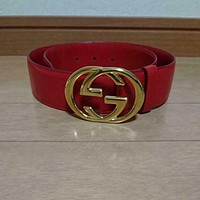 AUTH Gucci Logo Buckle Leather Belt