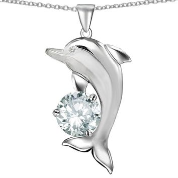 Star K Sterling Silver Round 7mm Good Luck Dolphin Pendant