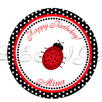 Ladybug sticker, Cupcake Topper, Tags, Digital file. Great for birthdays and baby showers