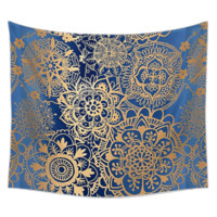 Abisa Blue and Gold Bohemian Fabric Tapestry
