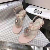 GUCCI Women Trending Fashion pearls Bow Casual Sneakers Sports Shoes Pink