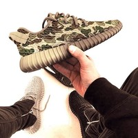 """Adidas"" Women Yeezy Boost Sneakers Running Sports Shoes SPYL-350 Camouflage GREEN H"