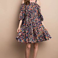 Off Shoulder Printed Challis Dress