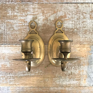 Candle Sconces Brass Candlesticks Pair of Brass Sconces Ornate Brass Candle Holders Gold Candle Holders Mid Century Wall Mount Candle