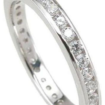 1 Ct CZ Wedding Eternity Band Ring Sterling Silver