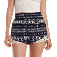 Navy Combo Crochet-Trim Tribal Print Shorts by Charlotte Russe