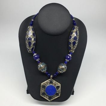 Turkmen Necklace Afghan Kuchi Tribal Lapis Lazuli Inlay Pendant Beaded Necklace