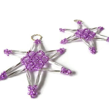 two piece set of seed bead stars, beaded ornament in silver and purple, christmas decoration, tree ornament or gift tag