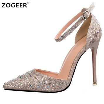 luxury crystal women pumps high heels sexy ankle strap mary janes ol shoes woman point  number 1