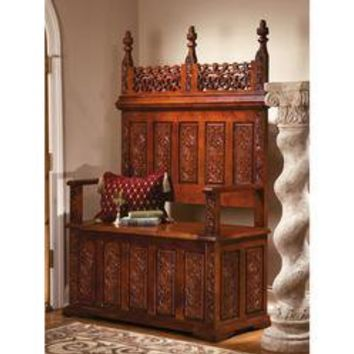 York Monastery Solid Hardwood Gothic Bench - Medieval and Gothic Furniture - Medieval & Gothic - Design Toscano