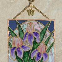 Purple Iris Art Stained Glass Panel Iris Wall Hanging Art Purple Flower Decor Iris Flower Suncatcher Stained Glass Iris Purple Bathroom Art