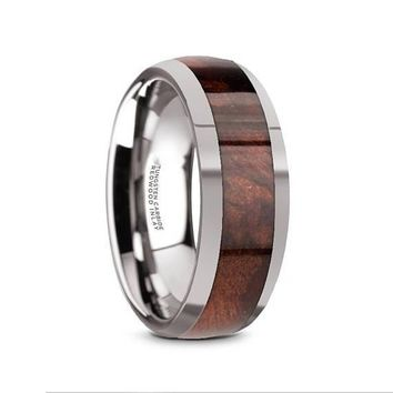Men's Exotic Redwood Inlaid Tungsten Carbide Ring W/ High Polished Edges - 8mm