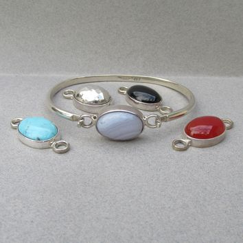 Mexican Vintage Sterling Silver Four Interchangeable Gemstones Bangle Bracelet