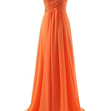 Topwedding Womens Bridesmaid Dresses Long Sweetheart Prom Gowns Chiffon Strapless
