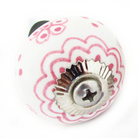 Cottage Chic Bottle Stopper, Pink Flower Stopper, Porcelain Drawer Pull Bottle Stopper